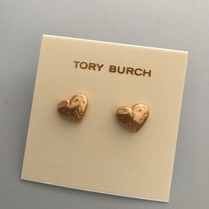 Tory Burch hammered style heart stud earrings